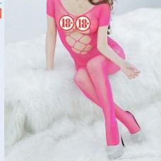 Lolita Özel Bölgesi Açık Fuşya Fantazi Vücut Çorabı