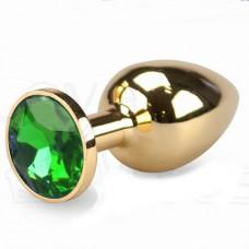 Lolita Altın Metal Yeşil Taşlı 8,5 Cm Anal Plug ve Tıkaç