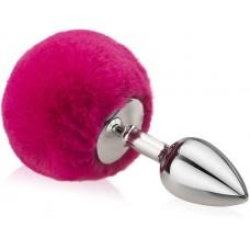 Lolita Gümüş Metal Fuşya Ponpon Tüylü 7 Cm Anal Plug ve Tıkaç