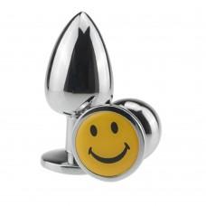 Lüks Gümüş Metal Gülen Emojili 7 Cm Lüks Anal Plug Ve Tıkaç