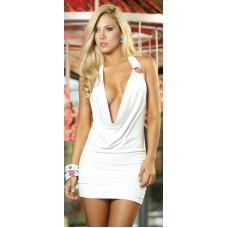 Lolita Seksi Beyaz Sırtı Derin Dekolteli Mini Elbise