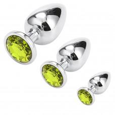 Lolita Shop Gümüş Metal Yeşil Taşlı 3'lü Anal Plug Set