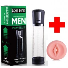 Men Usb Şarjlı Otomatik Çekim Yapan Penis Pompası+Vajina Başlığı