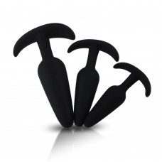 Smiling Butt Siyah Silikon 3'lü Anal Tıkaç Plug Set
