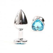 Gümüş Metal Açık Mavi Taşlı 8,5 Cm Lüks Anal Plug Ve Tıkaç