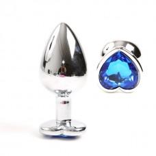 Gümüş Metal Mavi Taşlı 10 Cm Lüks Anal Plug Ve Tıkaç